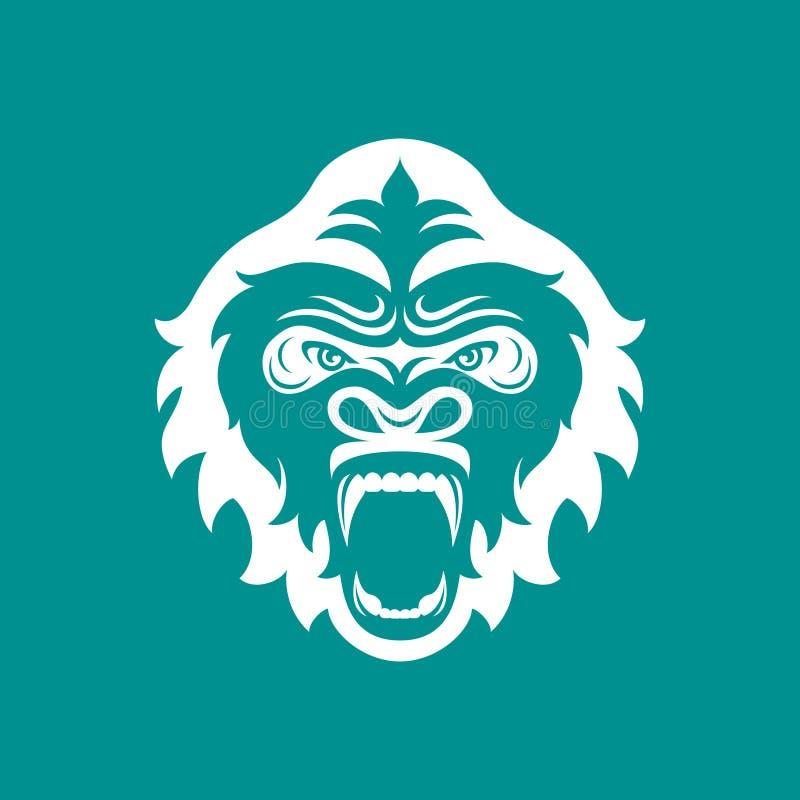 Logo capo della gorilla per il club o il gruppo di sport Logotype animale della mascotte mascherina Illustrazione di vettore illustrazione di stock