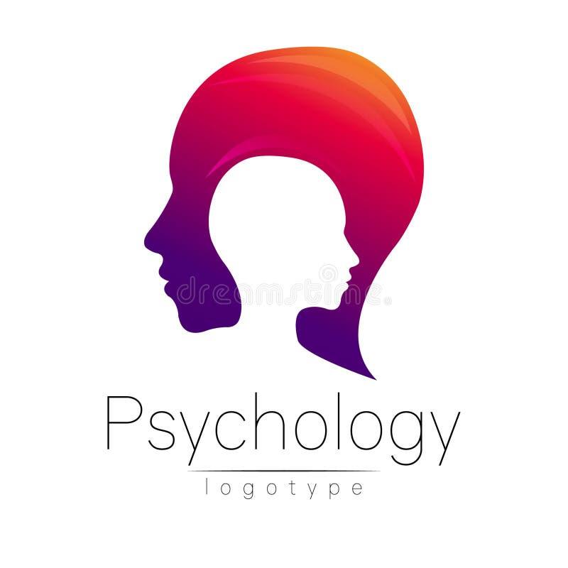 Logo capo moderno di psicologia Essere umano di profilo Stile creativo Logotype nel vettore Concetto di progetto Società di marca illustrazione di stock