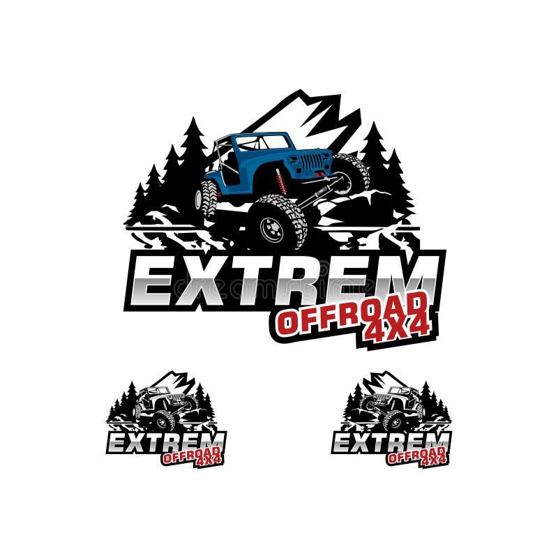 Extrem offroad logo vector. Logo car speed car shop and auto repair logo vector,auto repair car badge,Sport car auto vintage logo vector,Classic muscle car logo royalty free illustration