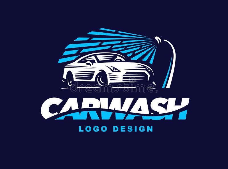 Logo car wash on dark background. vector illustration