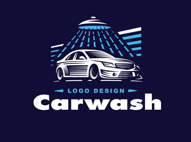 Logo car wash on dark background. royalty free illustration