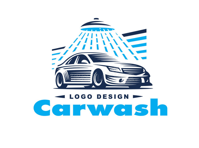 Logo car wash on light background. stock illustration