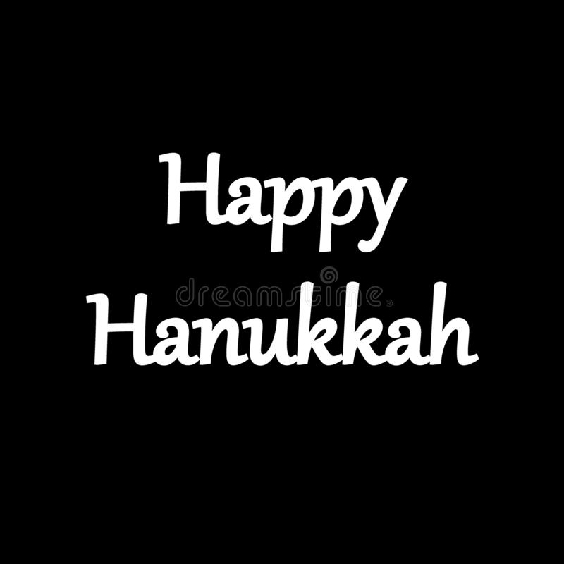 Logo and card with Happy Hanukkah. Calligraphic And Typographic. Retro color royalty free illustration