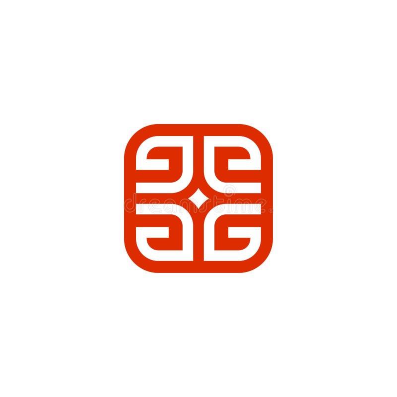 logo carré d'initiale de lettre de 4 directions G illustration libre de droits