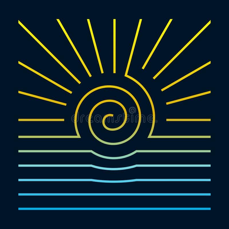 Logo carré de style Sun et ligne de mer sur fond sombre photos stock