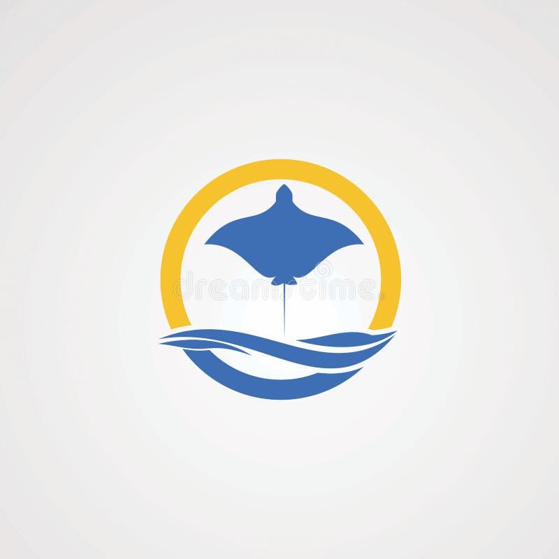 Logo central de piqué avec l'élément de vague et le soleil de cercle pour votre société illustration de vecteur