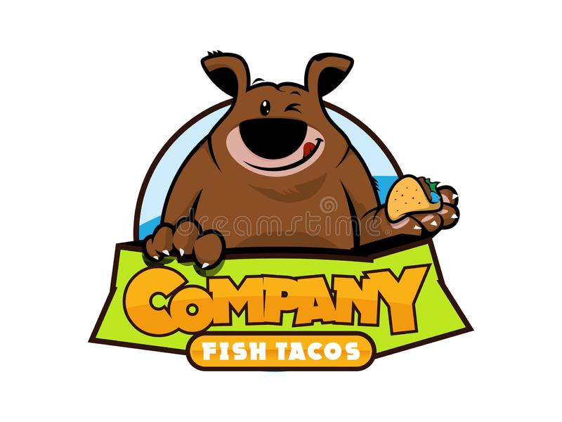 LOGO, CHARACTER LOGO, BEAR, TACOS, FISH TACOS, stock illustration