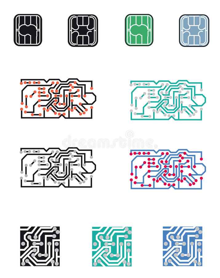 Logo chip processor. Chip, electronic circuit, processor. Vectorial illustration. Eps file available stock illustration