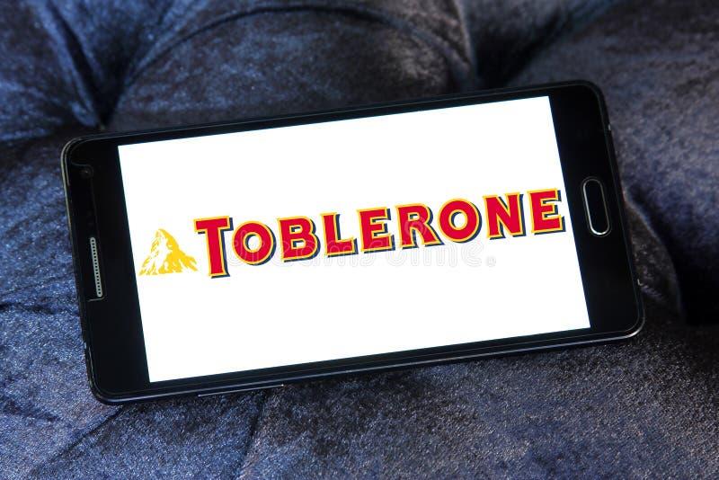 Toblerone chocolate logo. Logo of chocolate brand Toblerone on samsung mobile royalty free stock photos