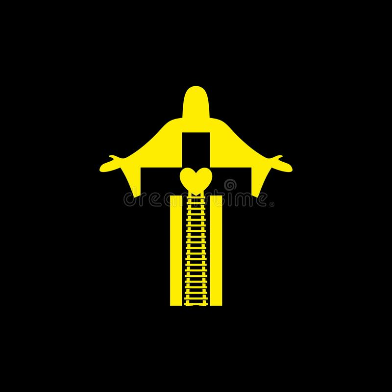 logo Choisissez par conséquent le chemin menant au ciel, à l'amour du ` s de Dieu par Jesus Christ illustration de vecteur
