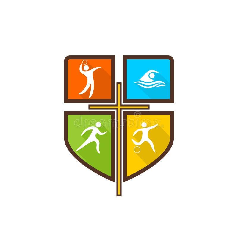 Logo chrétien sportif Divers genres de sports sur un bouclier multicolore La croix de Jesus Christ illustration stock