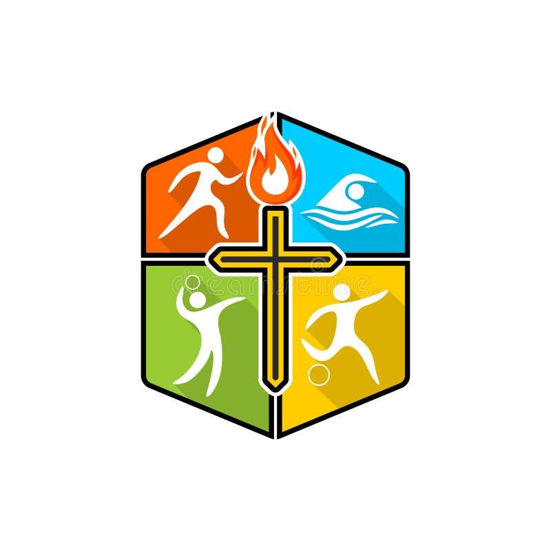 Logo chrétien sportif Divers genres de sports sur un bouclier multicolore La croix de Jesus Christ, la flamme du saint illustration de vecteur