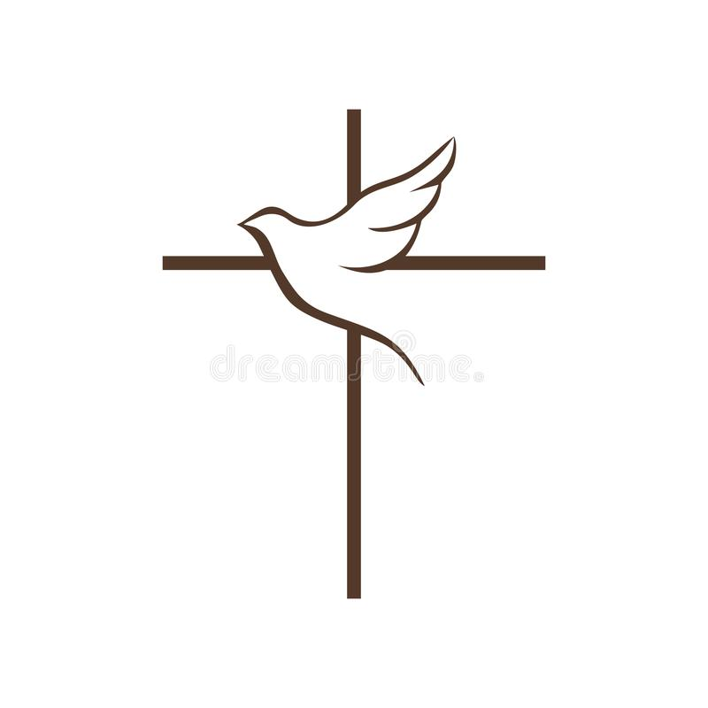 Logo of the church. The cross of Jesus Christ and the flying dove is a symbol of the Holy Spirit. Logo of the church. The cross of Jesus Christ and the flying vector illustration