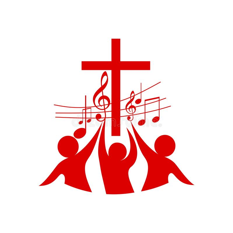 Logo of the church and ministry. Believers in the Lord Jesus Christ worship the Lord and sing to Him glory and praise. Logo of the church and ministry vector illustration
