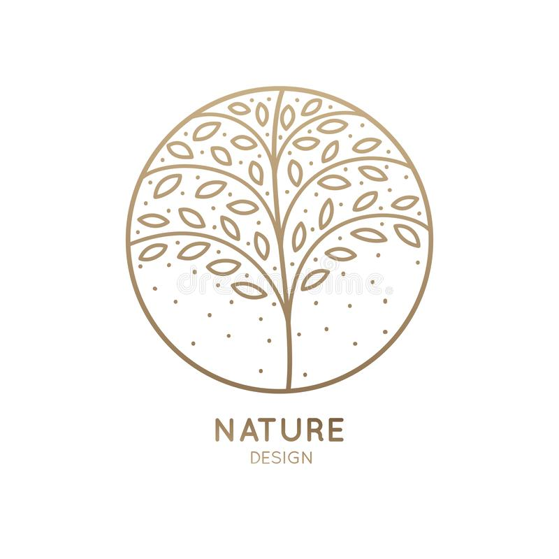 Logo circle tree. Flower logo in linear style. Abstract tree with leafs, petals in circle. Outline round emblem for design of natural products, flower shop vector illustration