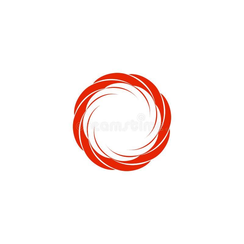 Logo circulaire abstrait d'isolement du soleil de couleur rouge Logotype de forme ronde Icône de remous, de tornade et d'ouragan  illustration libre de droits