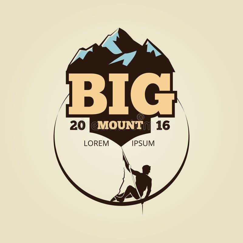 Logo climbling de montagne de vintage - folâtrez l'insigne d'activité illustration stock
