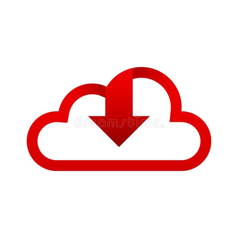 Logo Cloud-Rot mit Pfeilgesicht unten, rotes Download Logo Clouds stock abbildung