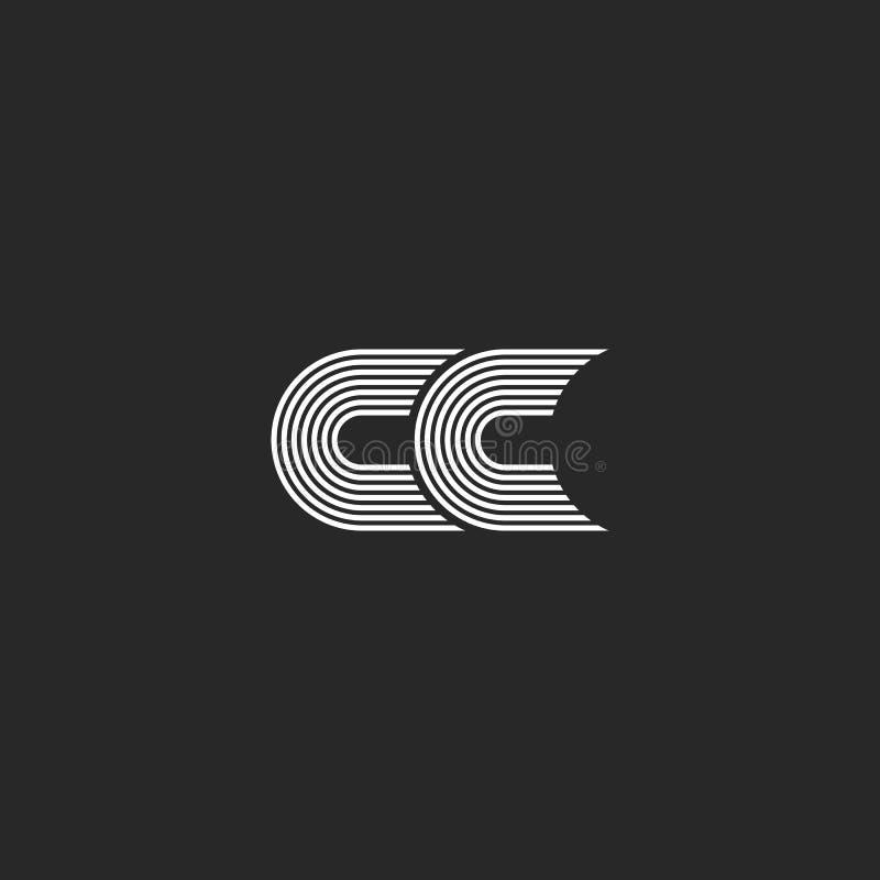 Logo cm-Monogrammbuchstabe, einfaches Heiratskarten-Emblemmodell zwei c-Initialen zusammen stilvolles, Ähnlichkeitslinien Schwarz vektor abbildung