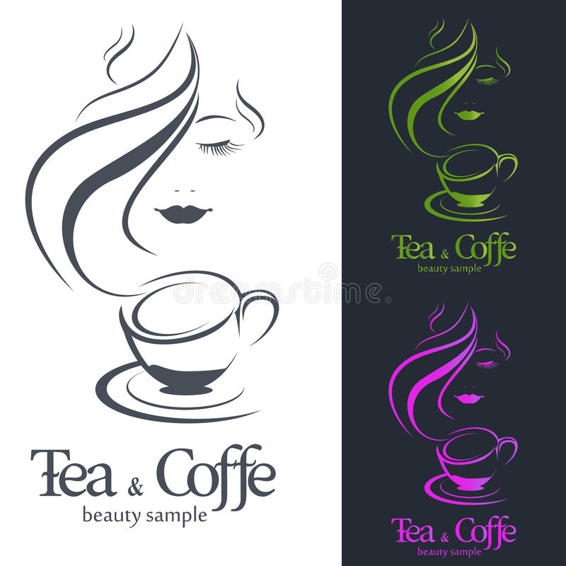 Logo Coffee och te royaltyfri illustrationer