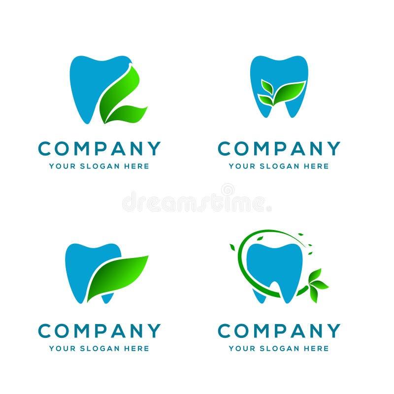 Logo Collection dental com ícone da folha imagens de stock royalty free