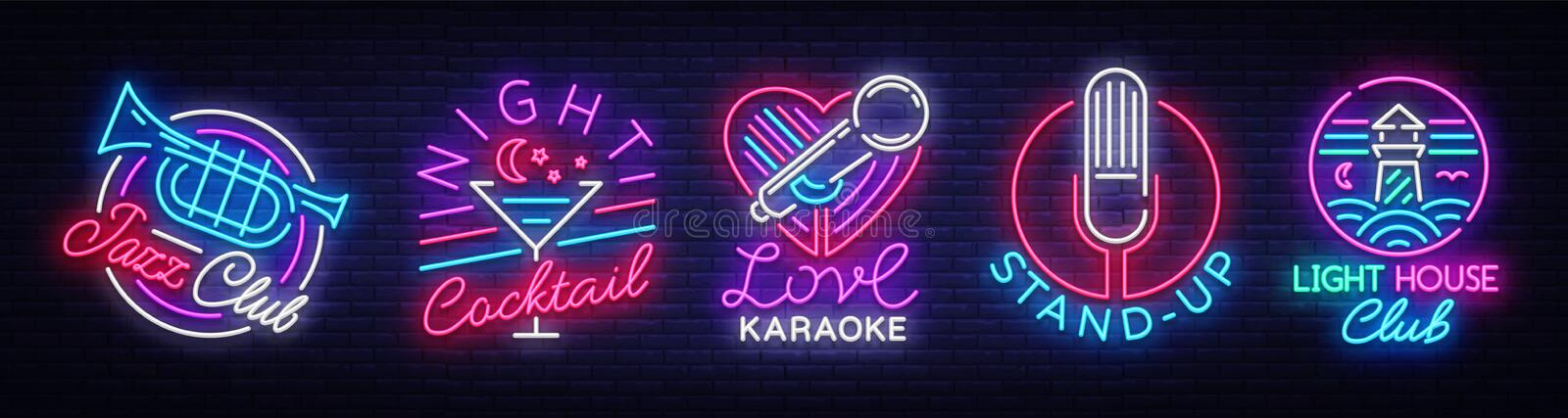 Logo collection in neon style. Neon Signs Collection Jazz Club, Night Cocktail, Karaoke, Stand Up, Lighthouse Night Club vector illustration