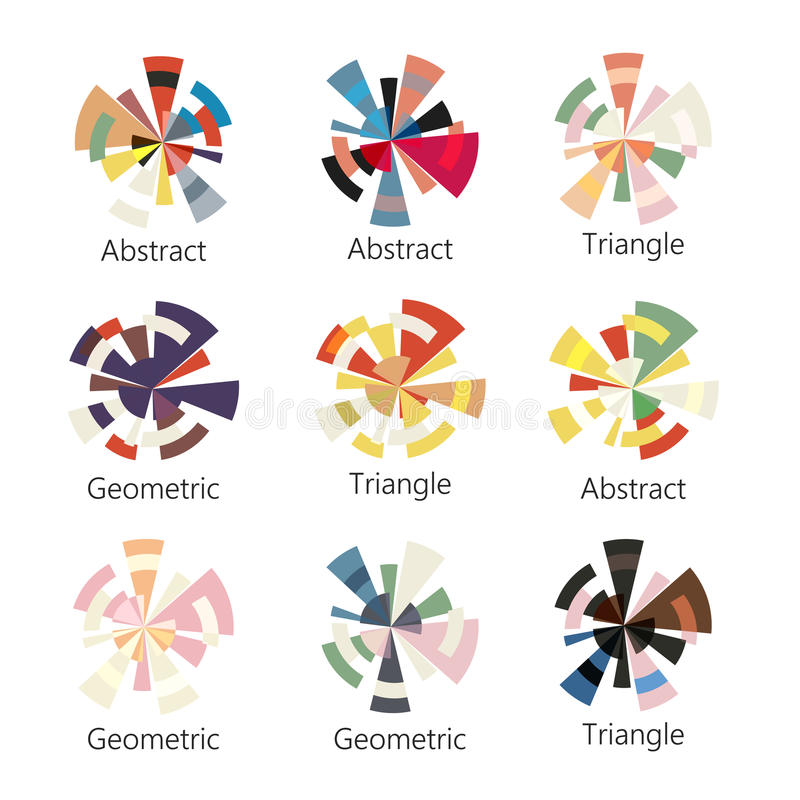 Logo coloré abstrait d'isolement de forme ronde d'ensemble de triangles sur le fond blanc, collection d'icônes de diagramme, géom illustration de vecteur