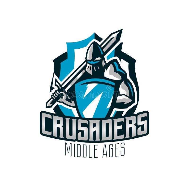 Logo coloré, autocollant, emblème du chevalier dans l'armure de fer Chevalier des Moyens Âges, bouclier, guerrier, épéiste illustration de vecteur