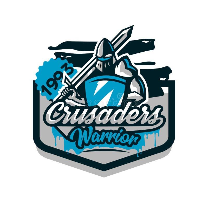 Logo coloré, autocollant, emblème du chevalier dans l'armure de fer Chevalier des Moyens Âges, bouclier, guerrier, épéiste illustration libre de droits