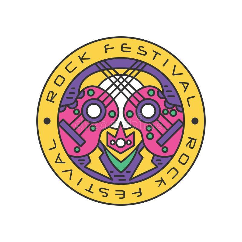 Logo coloré avec les guitares acoustiques Jazz 2011 de Jakarta Java Schéma avec la suffisance colorée Conception abstraite de vec illustration stock