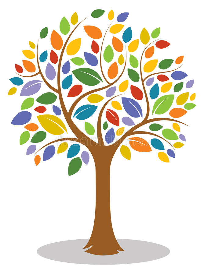 Logo coloré d'arbre illustration stock