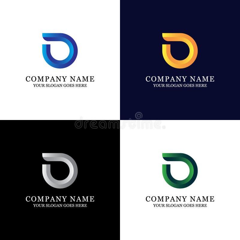 Logo coloré de lettre de D - illustration moderne de gradient illustration stock