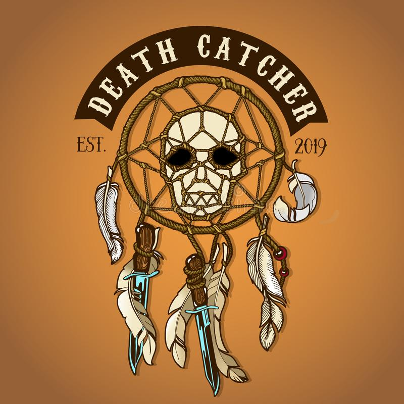 Logo coloré de receveur de la mort de crâne de cycliste illustration de vecteur