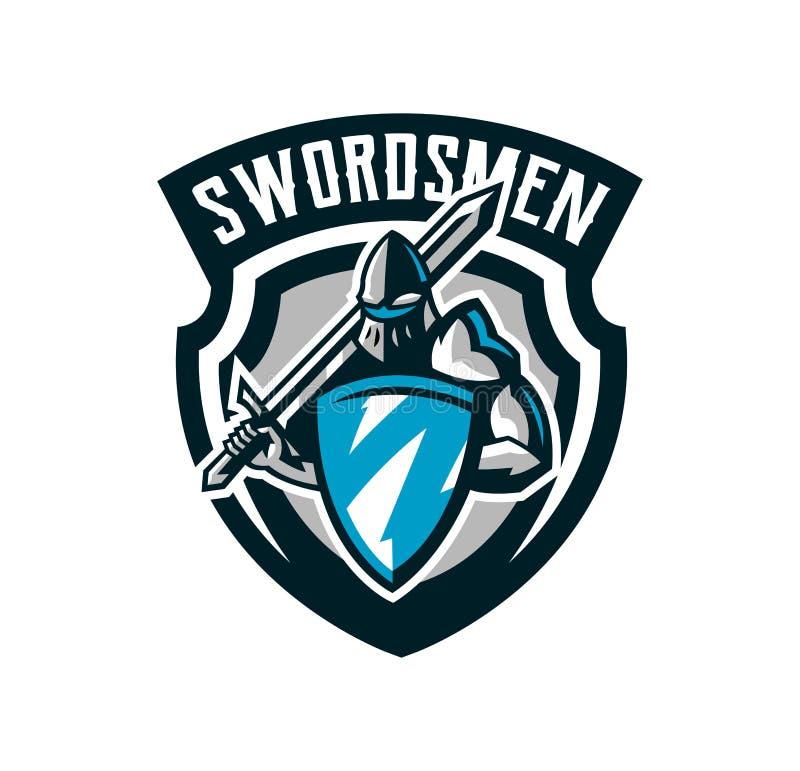 Logo coloré, emblème du chevalier s dans l'armure de fer Un guerrier des Moyens Âges, un chevalier tient un bouclier et une épée illustration stock