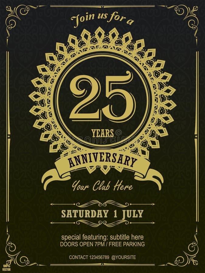 Logo coloré JAUNE élégant de 25 anniversaires avec le modèle géométrique encadré dans le CADRE FLORAL d'isolement sur le fond fon illustration libre de droits