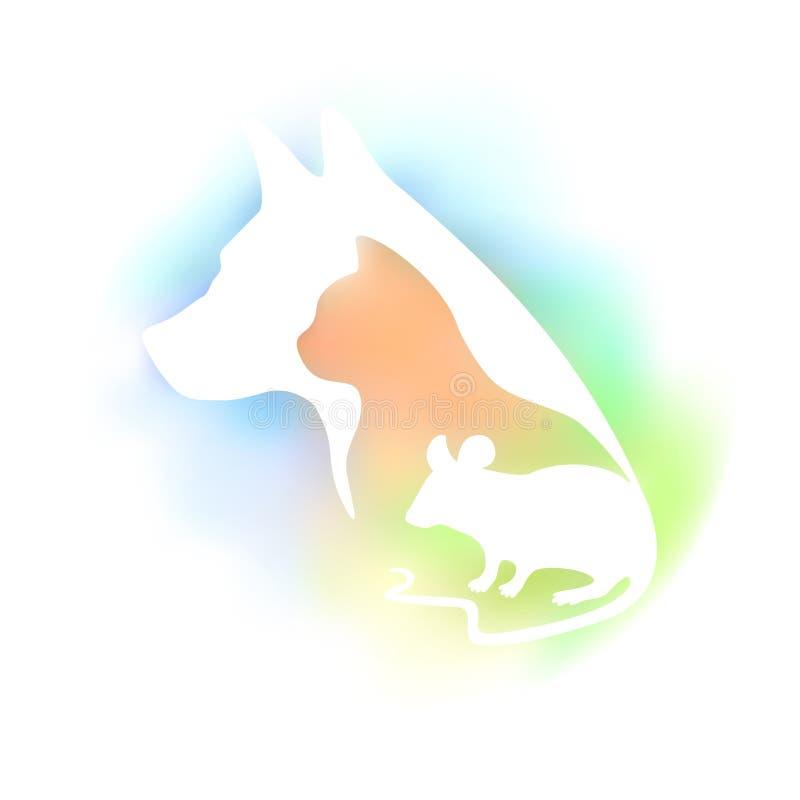 Logo coloré pour la clinique et le magasin de bêtes vétérinaires Dirigez la silhouette de chien, de chat et de souris sur un fond illustration stock