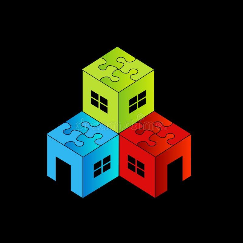 Logo coloré pour le marché de l'immobilier illustration stock