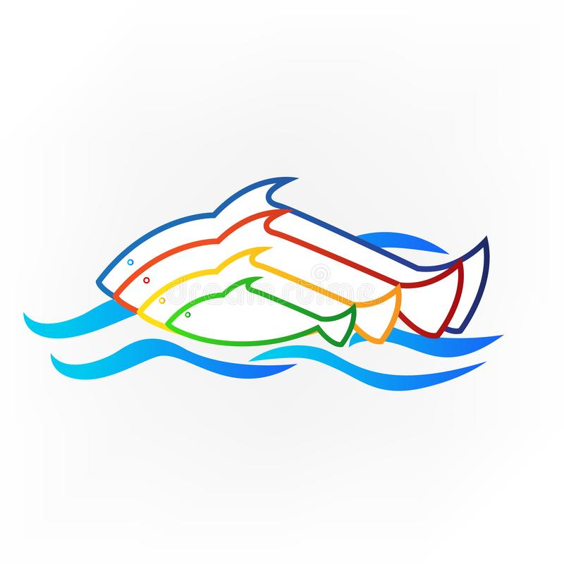 Logo colored fish and sea identity business card icon royalty free illustration