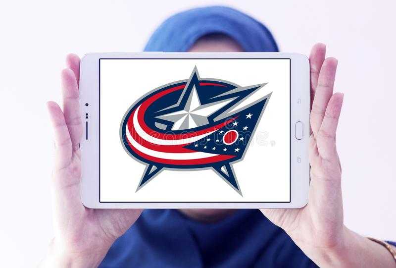 Columbus Blue Jackets ice hockey team logo. Logo of Columbus Blue Jackets ice hockey team on samsung tablet holded by arab muslim woman. The Columbus Blue royalty free stock image