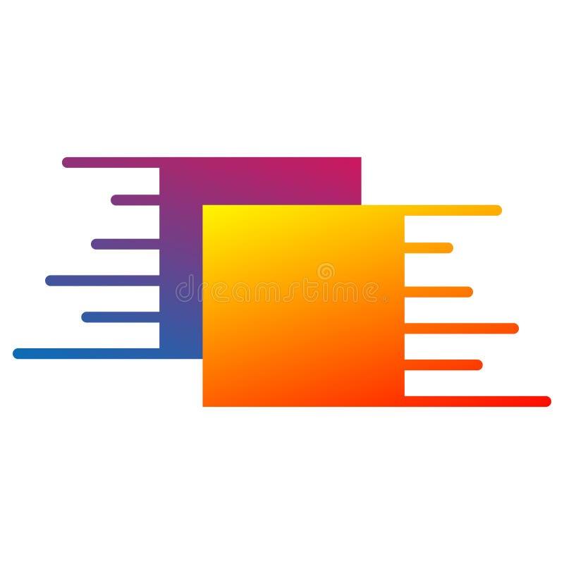 Logo con due quadrati con effetto di moto Vettore illustrazione vettoriale
