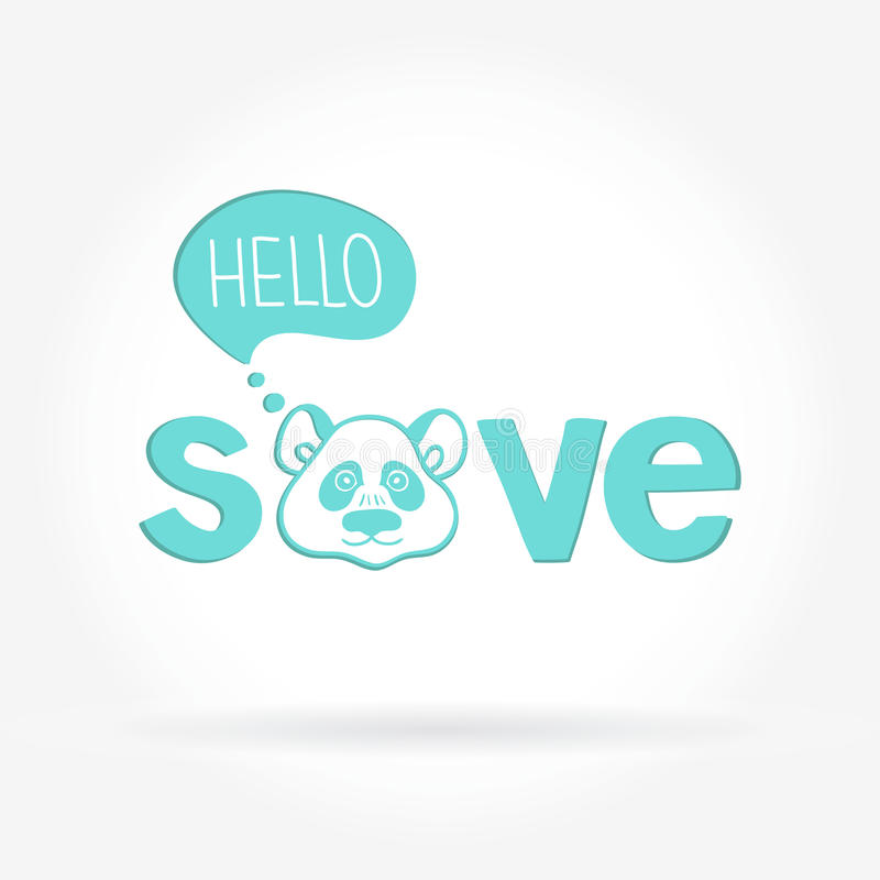 Logo con il panda Salvataggio animale Logo per i negozi di animali, cliniche veterinarie royalty illustrazione gratis