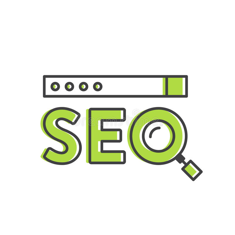 Logo Concept av SEO Search Engine Optimization Process stock illustrationer