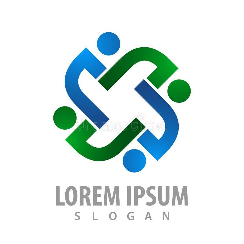 Logo Concept Design Gire a la gente Vector gráfico del elemento de la plantilla del símbolo stock de ilustración