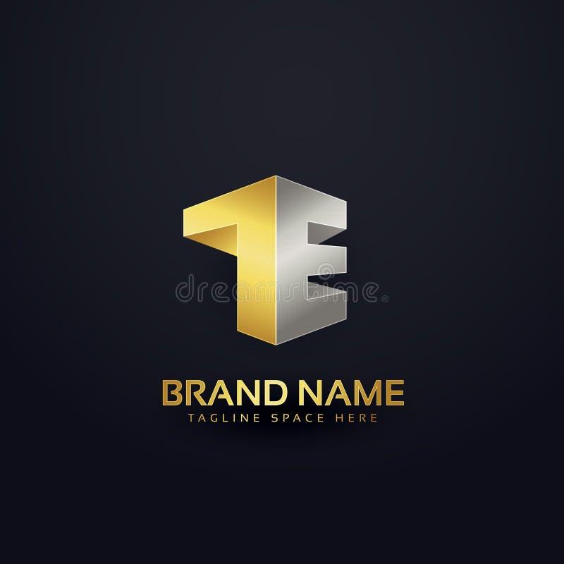 Logo concept design in golden premium style for letter T and E vector illustration