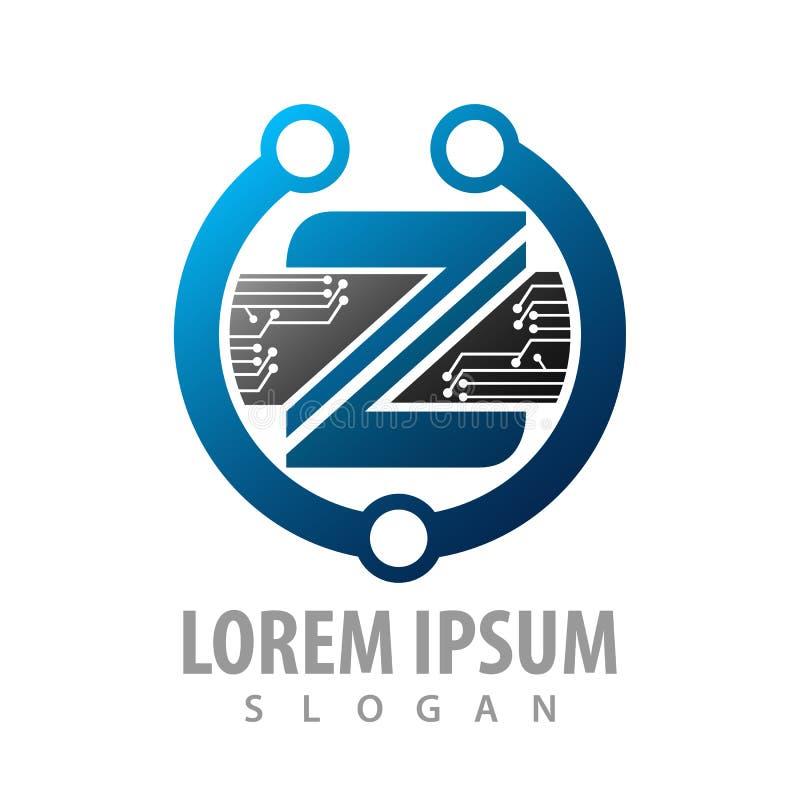 Logo Concept Design lettre abstraite Z de technologie numérique Vecteur graphique d'élément de calibre de symbole illustration libre de droits