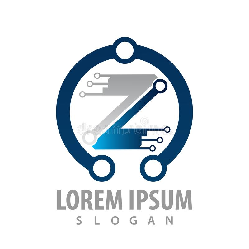 Logo Concept Design Lettre Z de technologie numérique Vecteur graphique d'élément de calibre de symbole illustration libre de droits