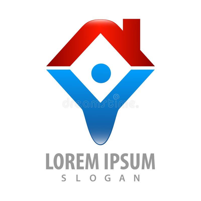 Logo Concept Design mains vers le haut d'humain avec le toit Vecteur graphique d'élément de calibre de symbole illustration stock