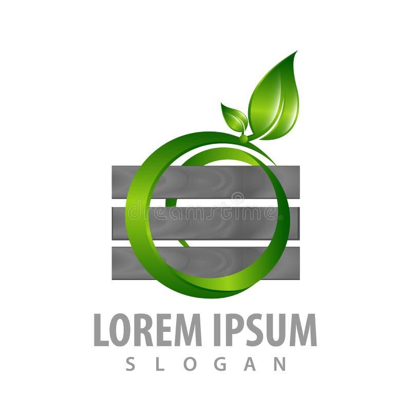 Logo Concept Design Muur met cirkelblad Het elementenvector van het symbool grafische malplaatje vector illustratie