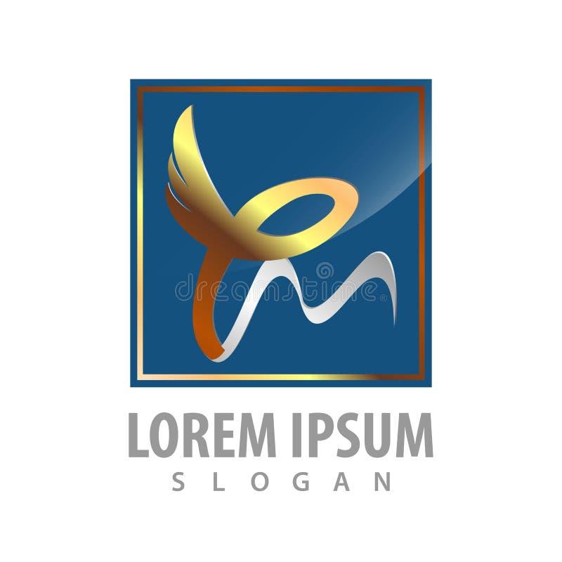 Logo Concept Design Quadrado luxuoso Asa da fita Vetor gráfico do elemento do molde do símbolo ilustração do vetor