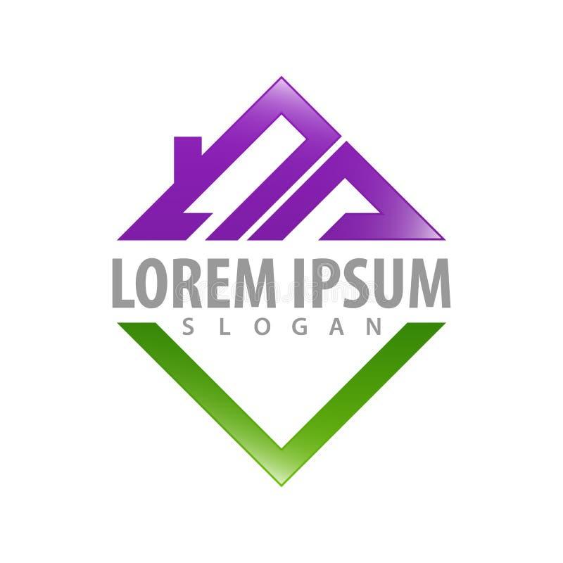 Logo Concept Design Vierkant dak Het elementenvector van het symbool grafische malplaatje stock illustratie